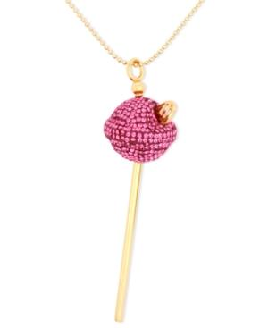 Sis By Simone I Smith 18k Gold Over Sterling Silver Necklace, Medium Pink Crystal Lollipop Pendant