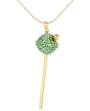 Sis By Simone I Smith 18k Gold Over Sterling Silver Necklace, Medium Lime Green Crystal Lollipop Pendant