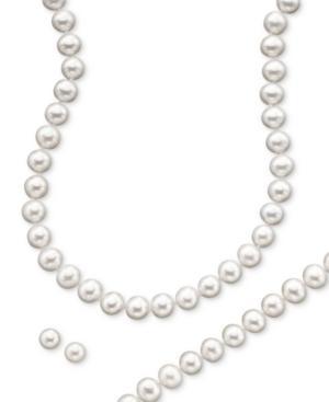 14k Gold Cultured Freshwater Pearl Necklace, Earring & Bracelet Set