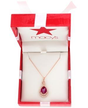 Effy Ruby (2-5/8 Ct. T.w.) And Diamond (1/4 Ct. T.w.) Pendant Necklace In 14k Rose Gold