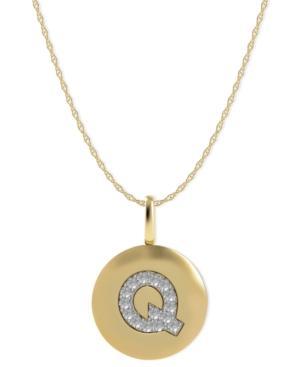 14k Gold Necklace, Diamond Accent Letter Q Disk Pendant