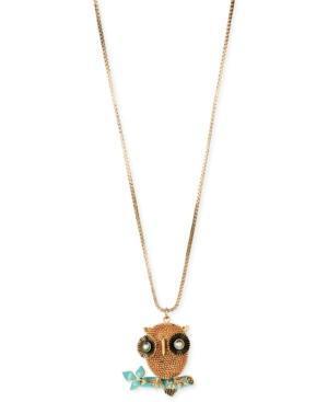 Betsey Johnson Gold-tone 3-d Owl Pendant Long Necklace