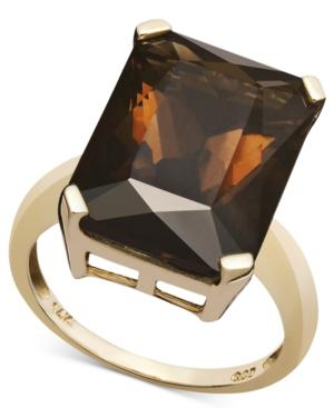 14k Gold Ring, Smokey Quartz (9-1/2 Ct. T.w.)