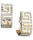Diamond Accent Greek Key Earrings In 14k Gold