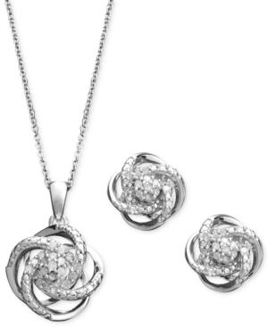 Diamond Jewelry Set, Sterling Silver Diamond Knot Pendant And Earrings Set (1/4 Ct. T.w.)