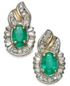 Emerald (1 Ct. T.w.) & Diamond (1/4 Ct. T.w.) Stud Earrings In 14k Gold