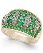 Emerald (1-3/4 Ct. T.w.) And Diamond (1/5 Ct. T.w.) Dome Ring In 14k Gold