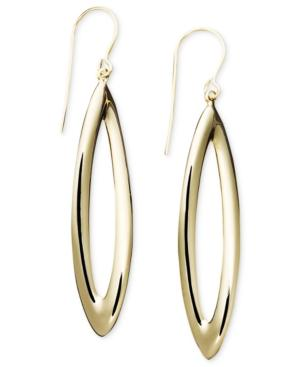 14k Gold Earrings, Narrow Pear Drop