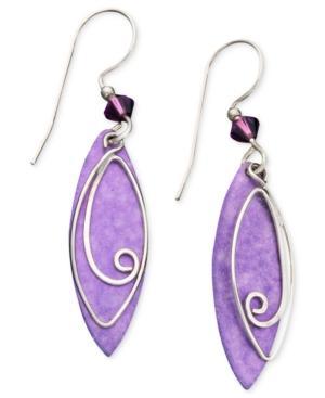 Jody Coyote Patina Brass Earrings, Purple Leaf Drop Earrings