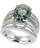 Effy Green Amethyst (5 Ct. T.w.) And Diamond Accent Statement Ring In Sterling Silver And 18k Gold