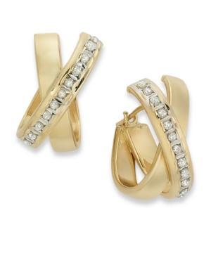 14k Gold Earrings, Diamond Accent X Hoop Earrings