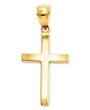 14k Gold Charm, Polished Cross Charm