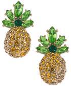 Abs By Allen Schwartz Gold-tone Pave Pineapple Stud Earrings