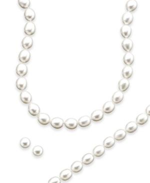 Sterling Silver Freshwater Pearl Necklace, Bracelet And Earring Set