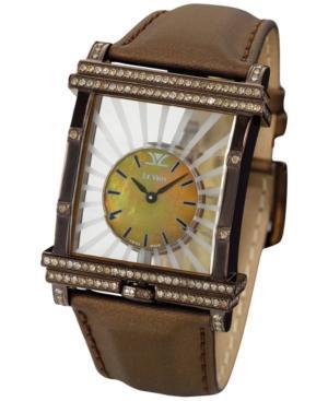 Le Vian Time Diamond Unisex Brown Leather Strap Watch (1-7/8 Ct. T.w.) 43mm Zag117