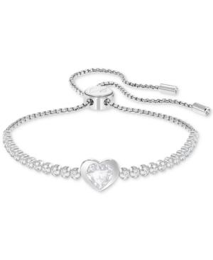 Swarovski Silver-tone Crystal Heart Slider Bracelet