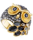Swarovski Gold-tone Crystal Owl Ring