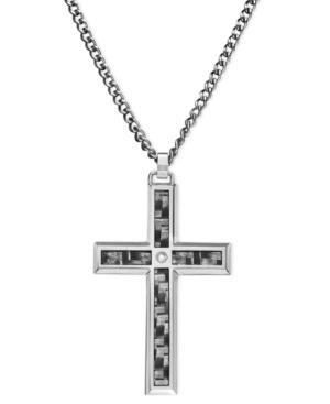 Men's Stainless Steel And Carbide Pendant, Cross