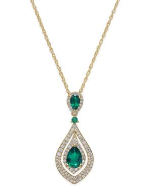 Emerald (1-1/4 Ct. T.w.) And Diamond (1/2 Ct. T.w.) Pendant Necklace In 14k Gold