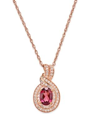 Rhodolite Garnet (1 Ct. T.w.) And Diamond (1/4 Ct. T.w.) Pendant Necklace In 14k Rose Gold