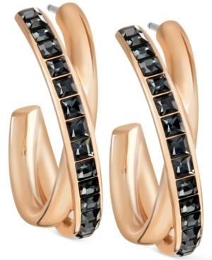 Swarovski Rose Gold-tone Crystal Crossover Hoop Earrings