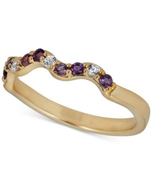 Amethyst (1/6 Ct. T.w.) & White Topaz Accent Ring In 14k Gold-plated Sterling Silver