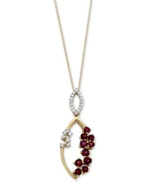 Ruby (3/4 Ct. T.w.) And Diamond (1/10 Ct. T.w.) Scatter Pendant Necklace In 14k Gold