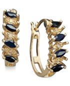 Victoria Townsend 18k Gold Over Sterling Silver Earrings, Sapphire (1 Ct. T.w.) And Diamond Accent Marquise Hoop Earrings