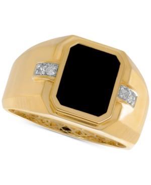 Men's Onyx (8 X 10mm) & Diamond Accent Ring In 10k Gold