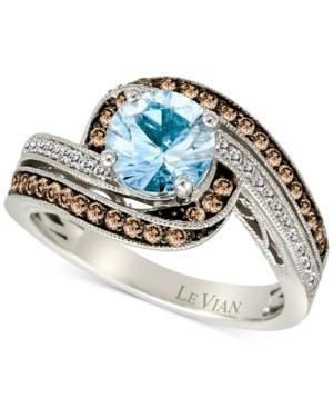 Aquamarine (1 Ct. T.w.) And Diamond (3/8 Ct. T.w.) Ring In 14k White Gold