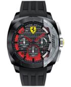 Scuderia Ferrari Men's Chronograph Aerodinamico Black Silicone Strap Watch 46mm 830205