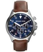 Michael Kors Men's Chronograph Gage Brown Leather Strap Watch 45mm Mk8362
