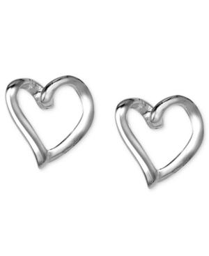 Unwritten Sterling Silver Earrings, Open Heart Stud Earrings