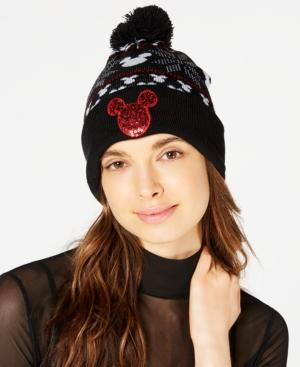 Concept One Sequined Mickey Mouse Fair Isle Beanie