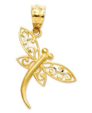 14k Gold Charm, Satin Dragonfly Charm