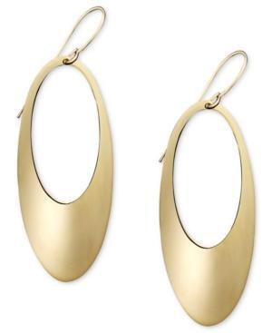 14k Gold Earrings, Open Oval Hoop
