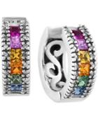 Watercolors By Effy Multi-sapphire (1-5/8 Ct. T.w.) And Diamond (1/6 Ct. T.w.) Huggy Earrings In 14k White Gold