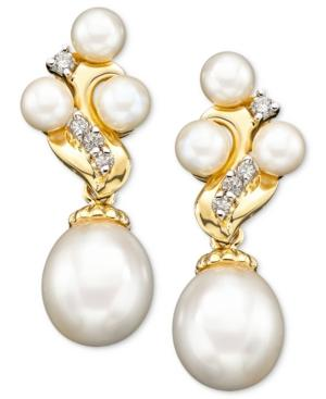 14k Gold Earrings, Cultured Freshwater Pearl And Diamond (1/6 Ct. T.w.)