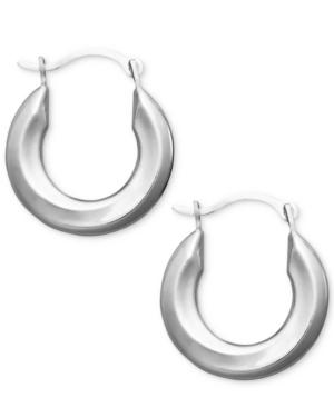 Small Polished Tube Hoop Earrings In 10k Gold, White Gold And Rose Gold