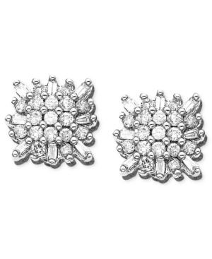 14k White Gold Earrings, Diamond Burst (1/3 Ct. T.w.)