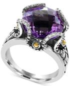 Viola By Effy Amethyst (8-3/4 Ct. T.w.) And Diamond Accent Statement Ring In Sterling Silver And 18k Gold