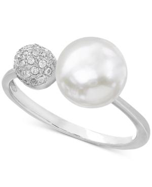 Cultured Freshwater Pearl (8mm) & Cubic Zirconia Ring In Sterling Silver