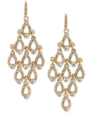 Carolee Gold-tone Crystal Pave Chandelier Earrings