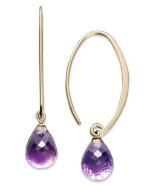 14k Gold Earrings, Amethyst Brio Long Hoop (6-1/2 Ct. T.w.)