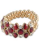 Carolee Gold-tone Burgundy Stone Beaded Stretch Bracelet