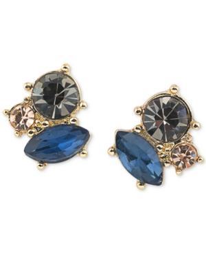 Abs By Allen Schwartz Gold-tone Crystal Cluster Stud Earrings