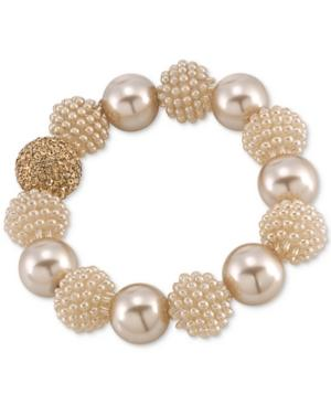Carolee Gold-tone Brown Imitation Pearl Large Bead Bangle Bracelet