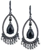 Carolee Hematite-tone Pave & Black Stone Drop Earrings