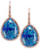 14k Rose Gold Earrings, Opal Triplet And Diamond (1/2 Ct. T.w.) Earrings