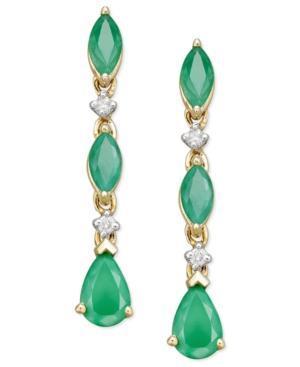 14k Gold Earrings, Emerald (1-5/8 Ct. T.w.) And Diamond Accent Drop Earrings